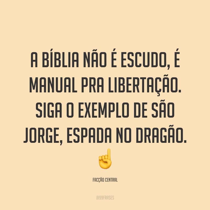 A Bíblia não é escudo, é manual pra libertação. Siga o exemplo de São Jorge, espada no Dragão. ☝
