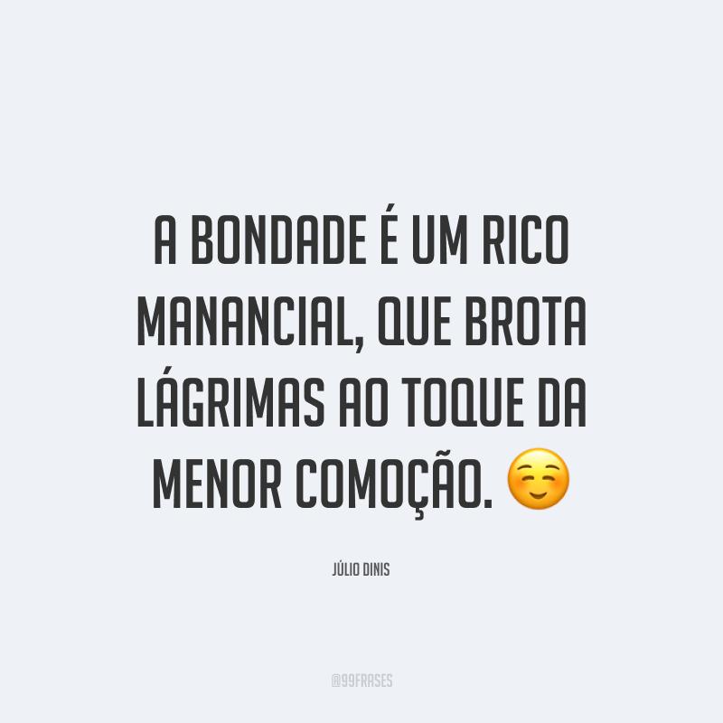 A bondade é um rico manancial, que brota lágrimas ao toque da menor comoção. ☺️