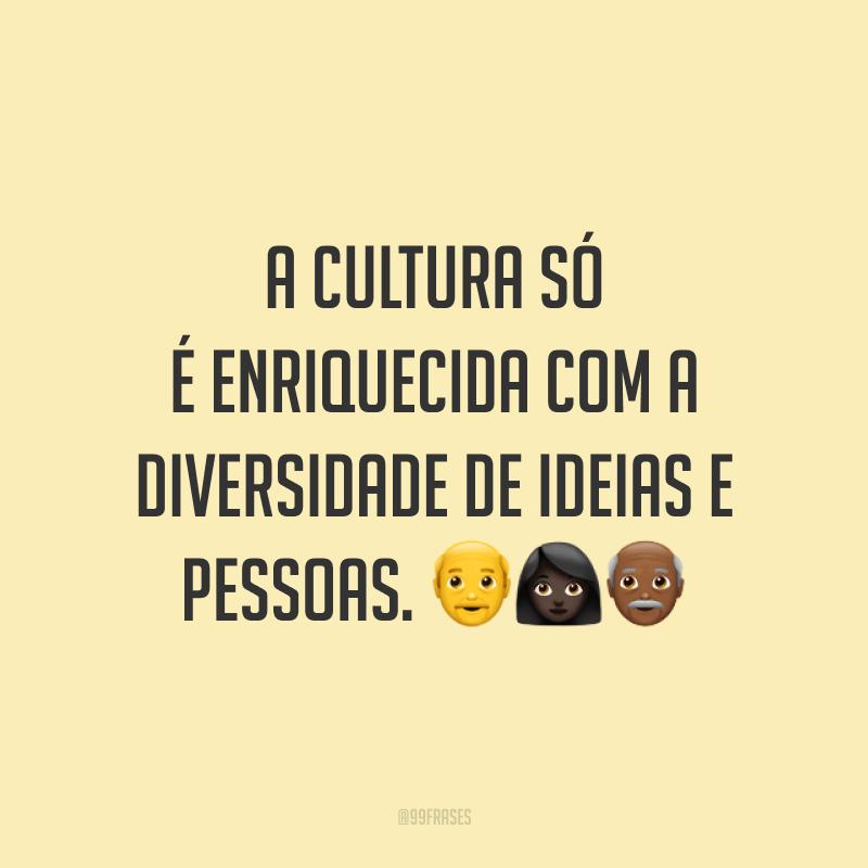 A cultura só é enriquecida com a diversidade de ideias e pessoas.
