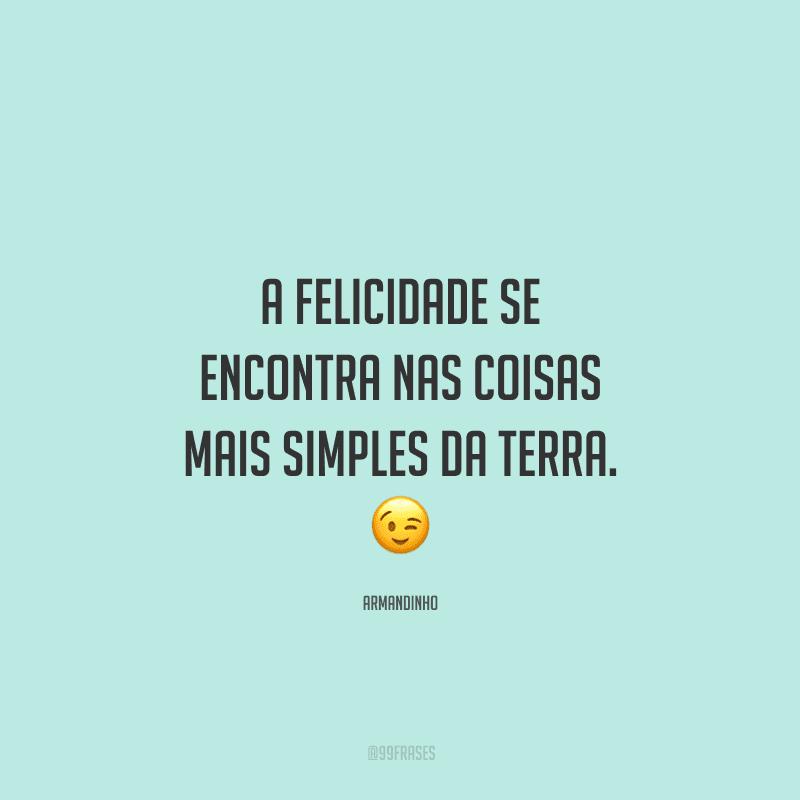 A felicidade se encontra nas coisas mais simples da Terra.