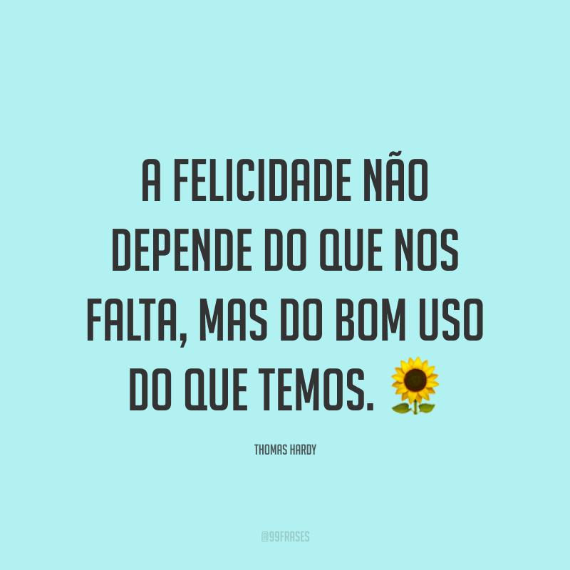 A felicidade não depende do que nos falta, mas do bom uso do que temos. 🌻