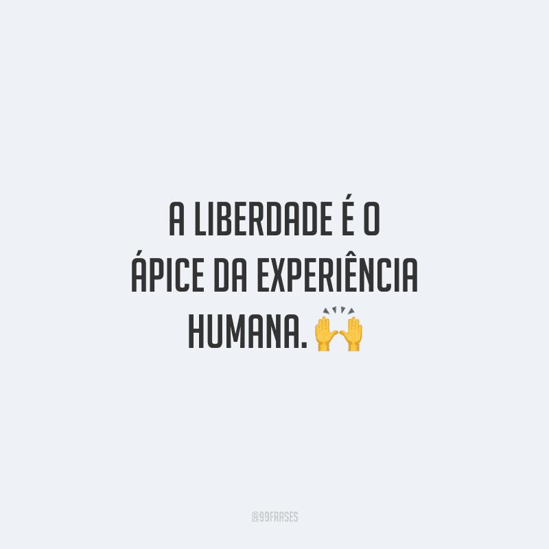 A liberdade é o ápice da experiência humana.