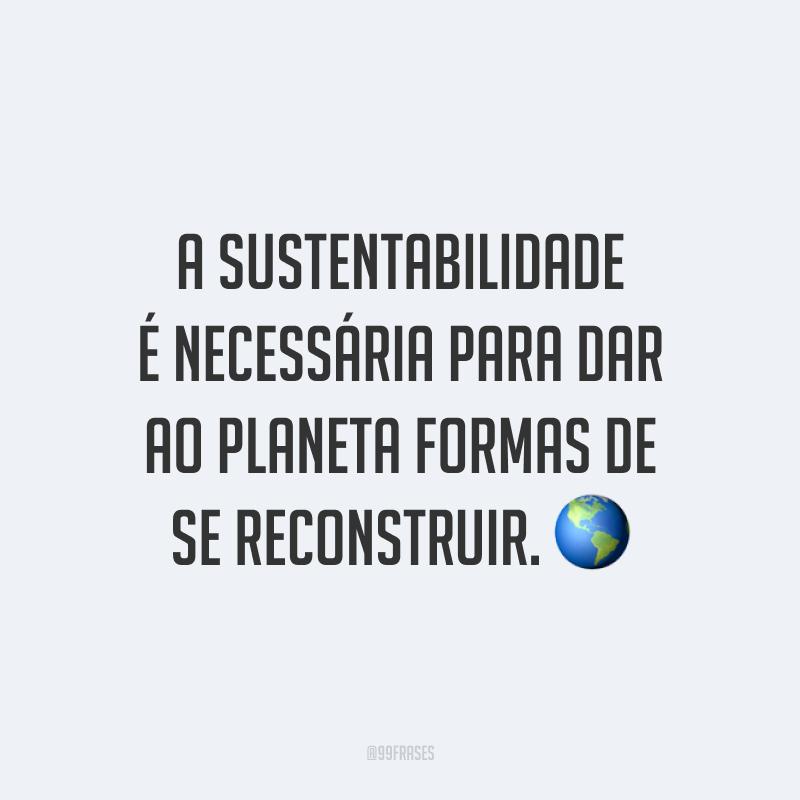 A sustentabilidade é necessária para dar ao planeta formas de se reconstruir. 🌎