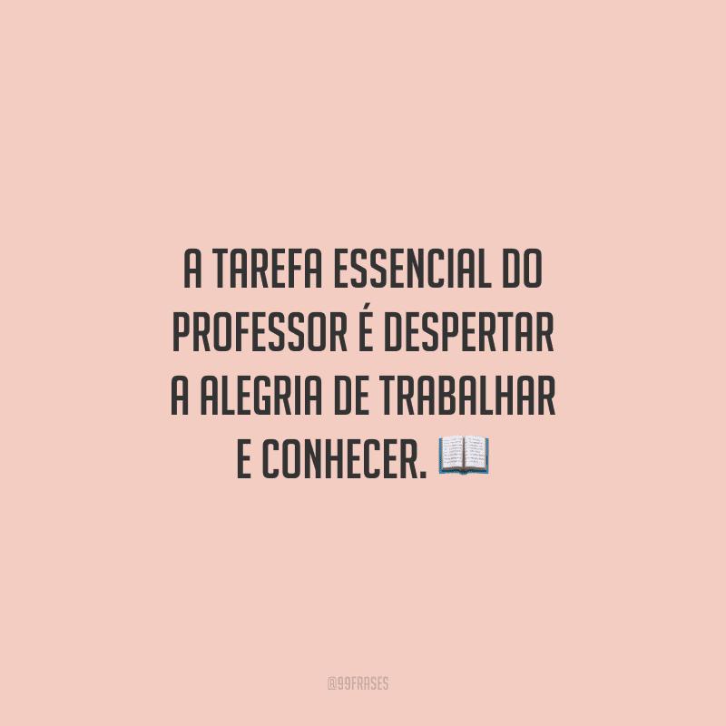 A tarefa essencial do professor é despertar a alegria de trabalhar e conhecer.