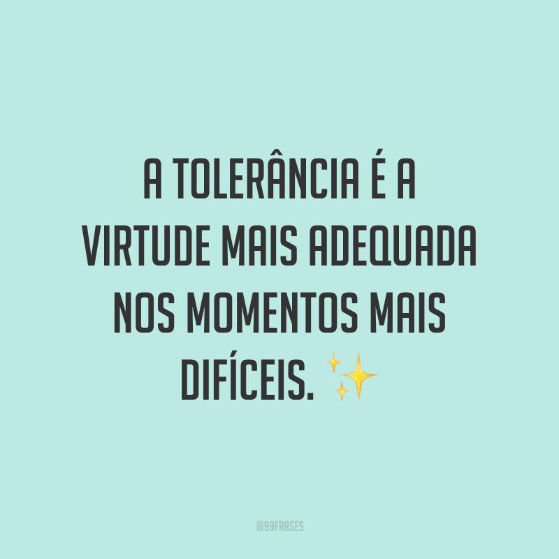 A tolerância é a virtude mais adequada nos momentos mais difíceis. ✨