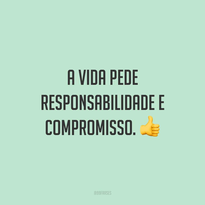 A vida pede responsabilidade e compromisso. 👍