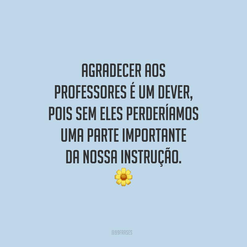Agradecer aos professores é um dever, pois sem eles perderíamos uma parte importante da nossa instrução.