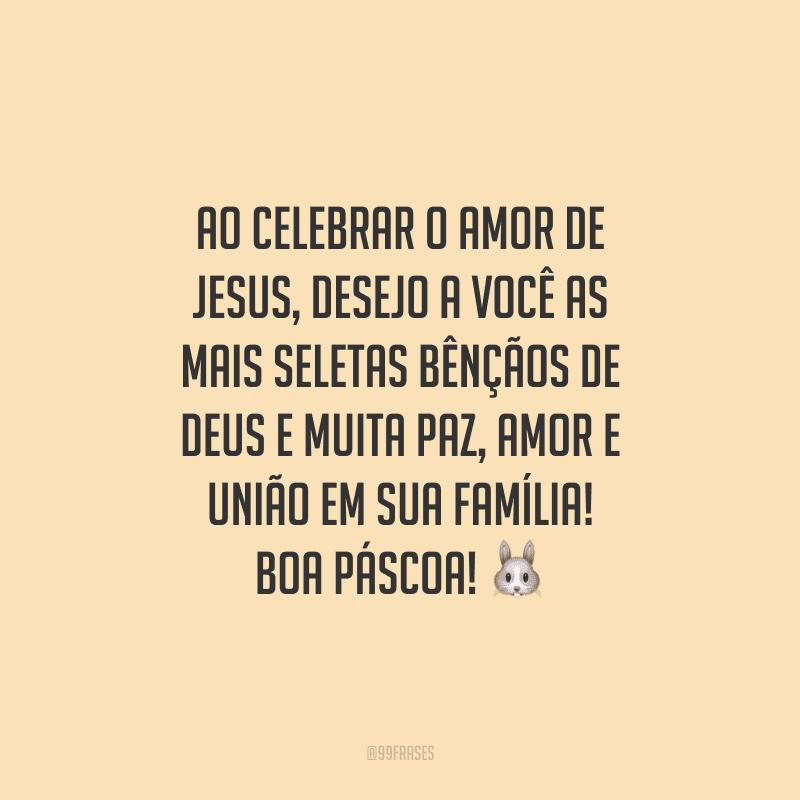 Ao celebrar o amor de Jesus, desejo a você as mais seletas bênçãos de Deus e muita paz, amor e união em sua família! Boa Páscoa!