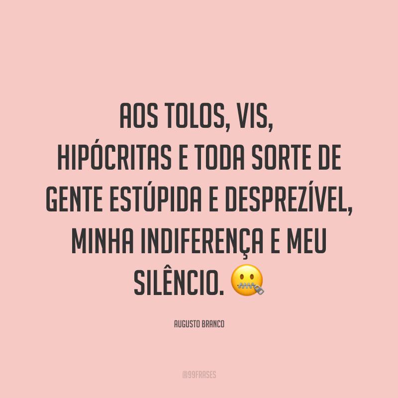 Aos tolos, vis, hipócritas e toda sorte de gente estúpida e desprezível, minha indiferença e meu silêncio. ?