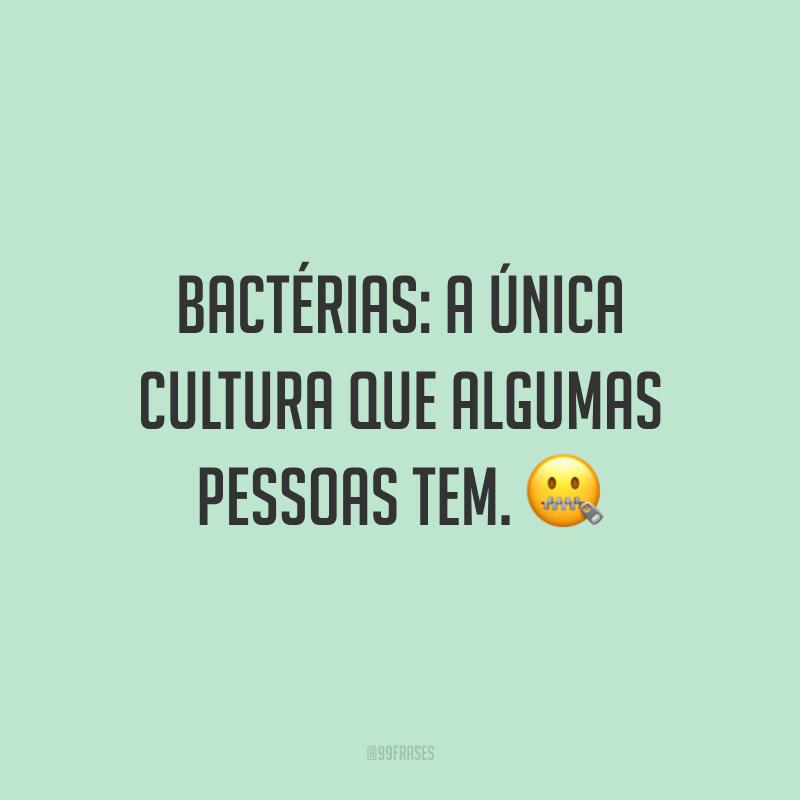 Bactérias: a única cultura que algumas pessoas tem. 🤐