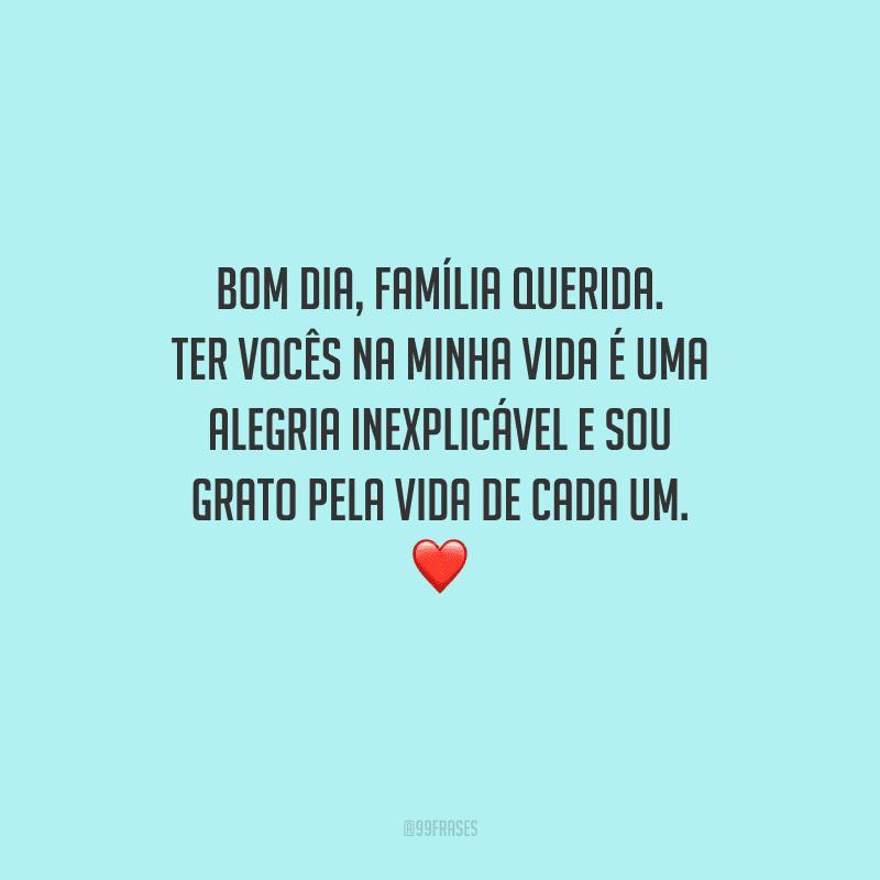 Bom dia, família querida. Ter vocês na minha vida é uma alegria inexplicável e sou grato pela vida de cada um.