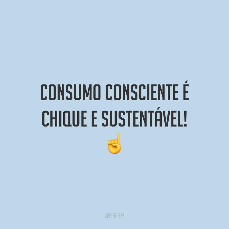 Consumo consciente é chique e sustentável! ☝️