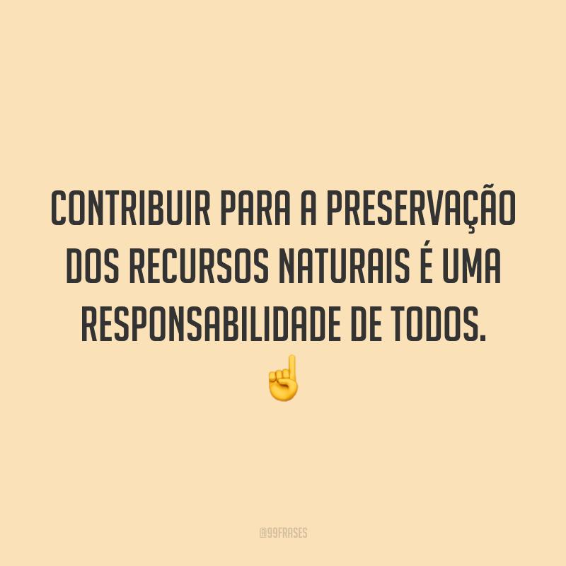 Contribuir para a preservação dos recursos naturais é uma responsabilidade de todos. ☝️