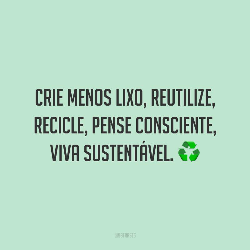 Crie menos lixo, reutilize, recicle, pense consciente, viva sustentável. ♻️
