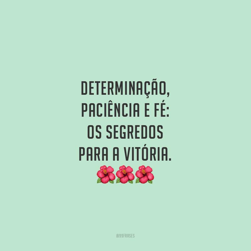 Determinação, paciência e fé: os segredos para a vitória.