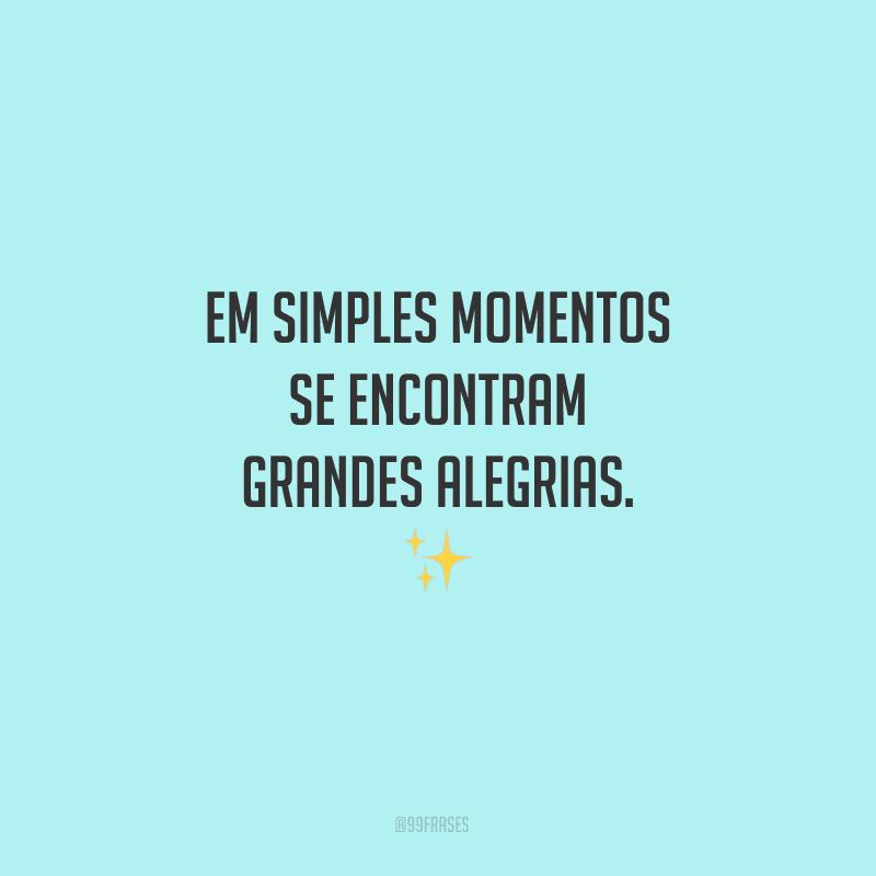 Em simples momentos se encontram grandes alegrias.