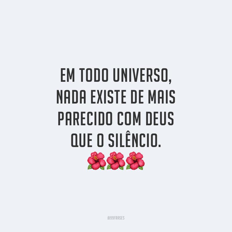 Em todo universo, nada existe de mais parecido com Deus que o silêncio.