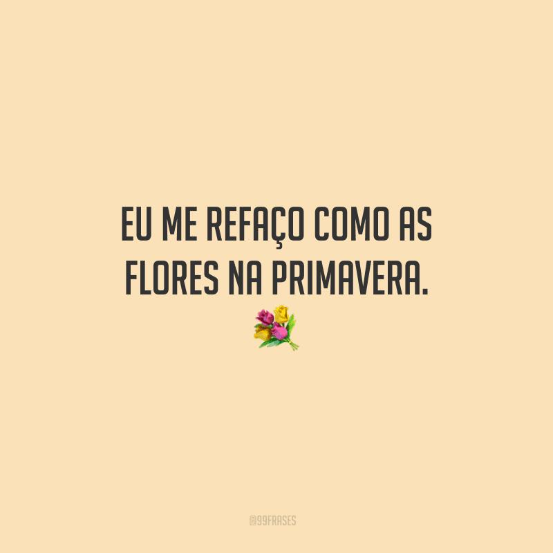 Eu me refaço como as flores na primavera.