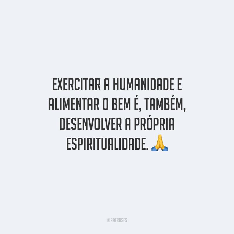 Exercitar a humanidade e alimentar o bem é, também, desenvolver a própria espiritualidade.