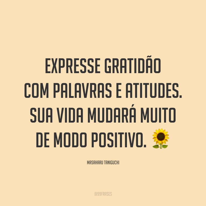 Expresse gratidão com palavras e atitudes. Sua vida mudará muito de modo positivo. ?