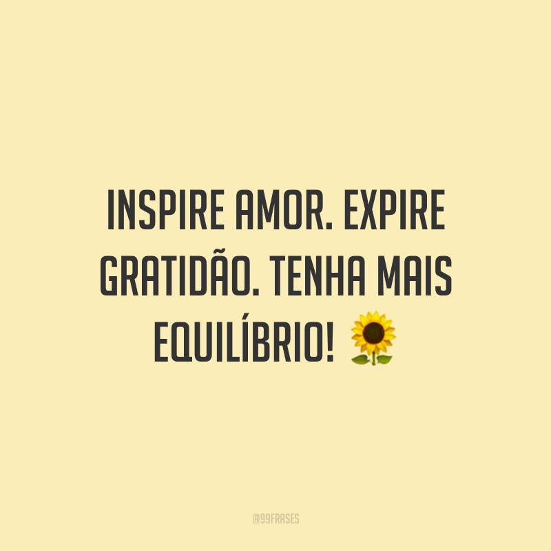 Inspire amor. Expire gratidão. Tenha mais equilíbrio! 🌻