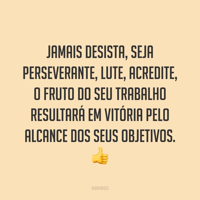 Jamais desista, seja perseverante, lute, acredite, o fruto do seu trabalho resultará em vitória pelo alcance dos seus objetivos. 👍