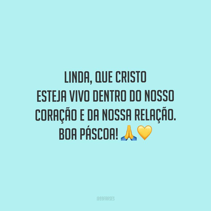 Linda, que Cristo esteja vivo dentro do nosso coração e da nossa relação. Boa páscoa!