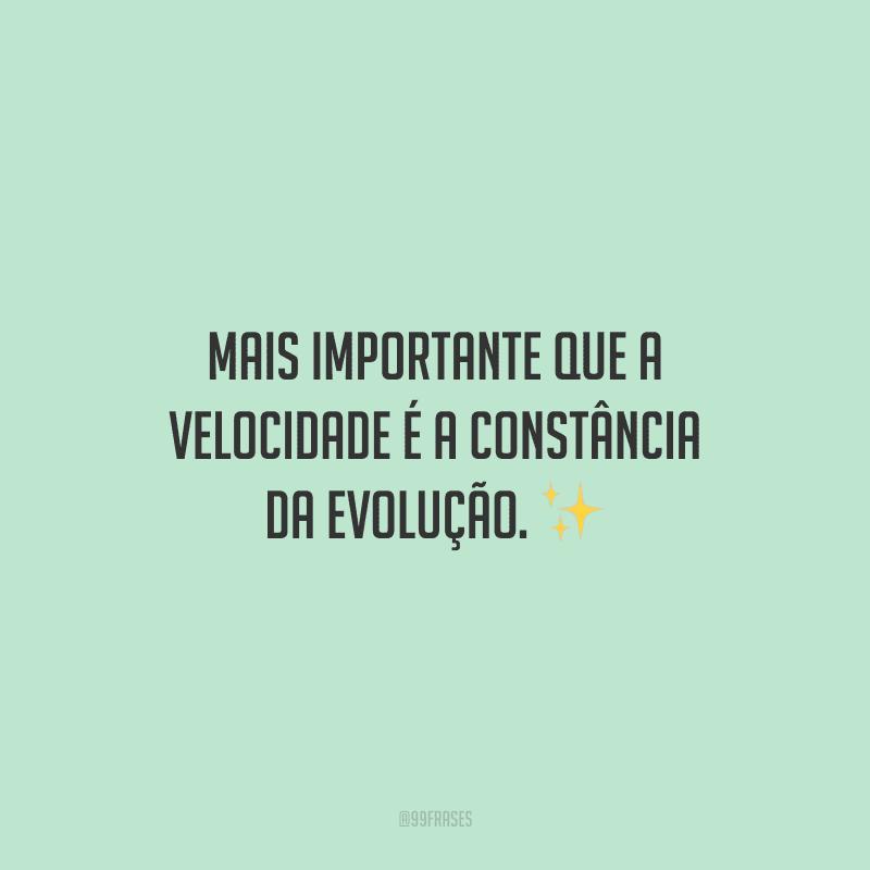 Mais importante que a velocidade é a constância da evolução.