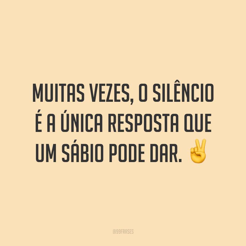 Muitas vezes, o silêncio é a única resposta que um sábio pode dar. ✌️