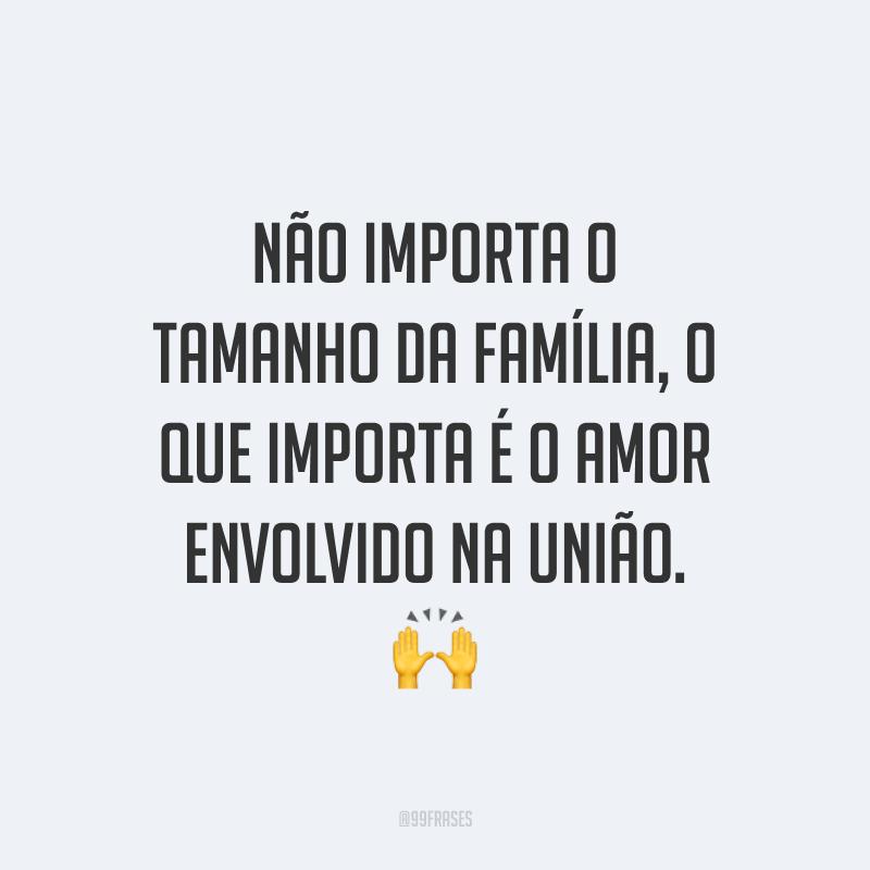 Não importa o tamanho da família, o que importa é o amor envolvido na união. 🙌