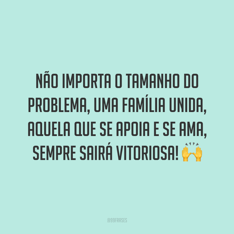 Não importa o tamanho do problema, uma família unida, aquela que se apoia e se ama, sempre sairá vitoriosa! 🙌