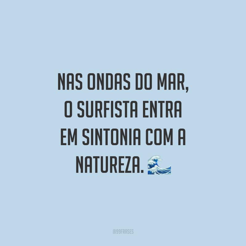 Nas ondas do mar, o surfista entra em sintonia com a natureza. ?