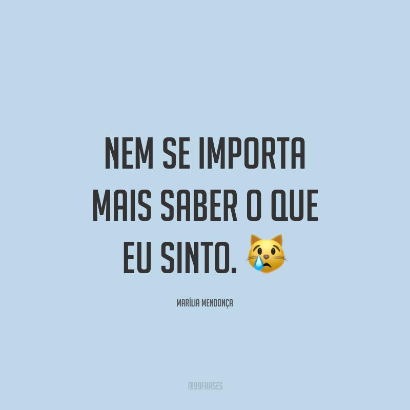 Nem se importa mais saber o que eu sinto. 😿