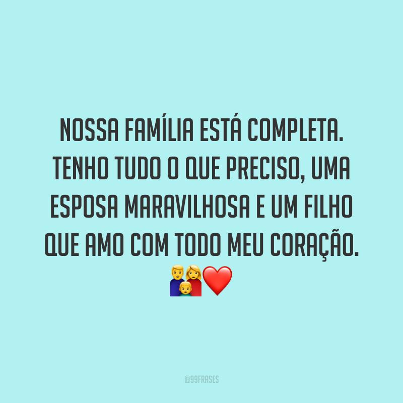 Nossa família está completa. Tenho tudo o que preciso, uma esposa maravilhosa e um filho que amo com todo meu coração. 👪❤️