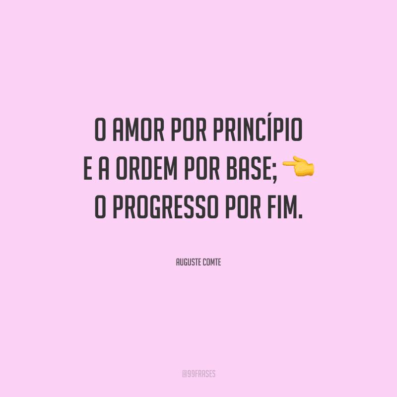 O amor por princípio e a ordem por base; o progresso por fim.