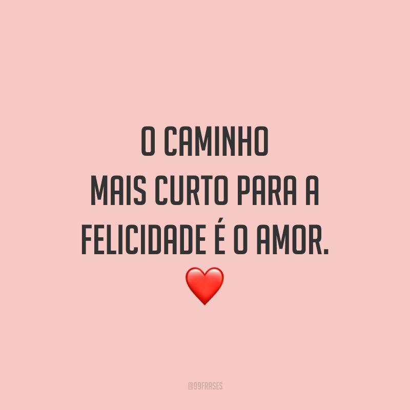 O caminho mais curto para a felicidade é o amor.