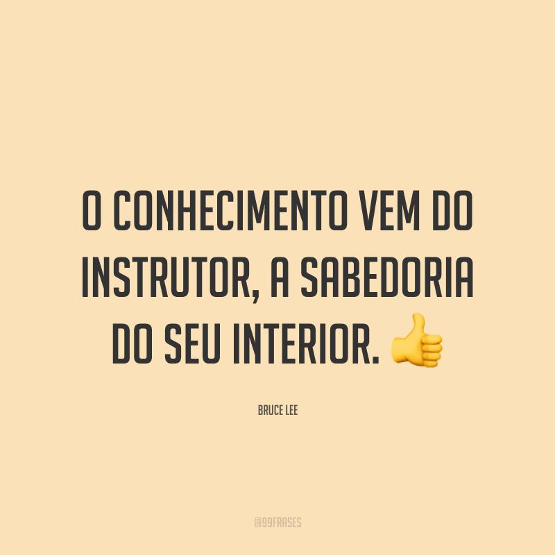 O conhecimento vem do instrutor, a sabedoria do seu interior. 👍