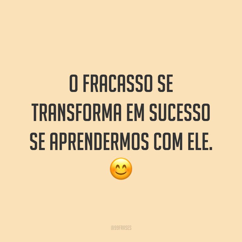 O fracasso se transforma em sucesso se aprendermos com ele. ?