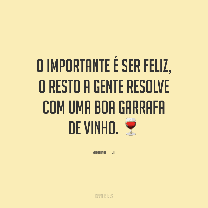O importante é ser feliz, o resto a gente resolve com uma boa garrafa de vinho.