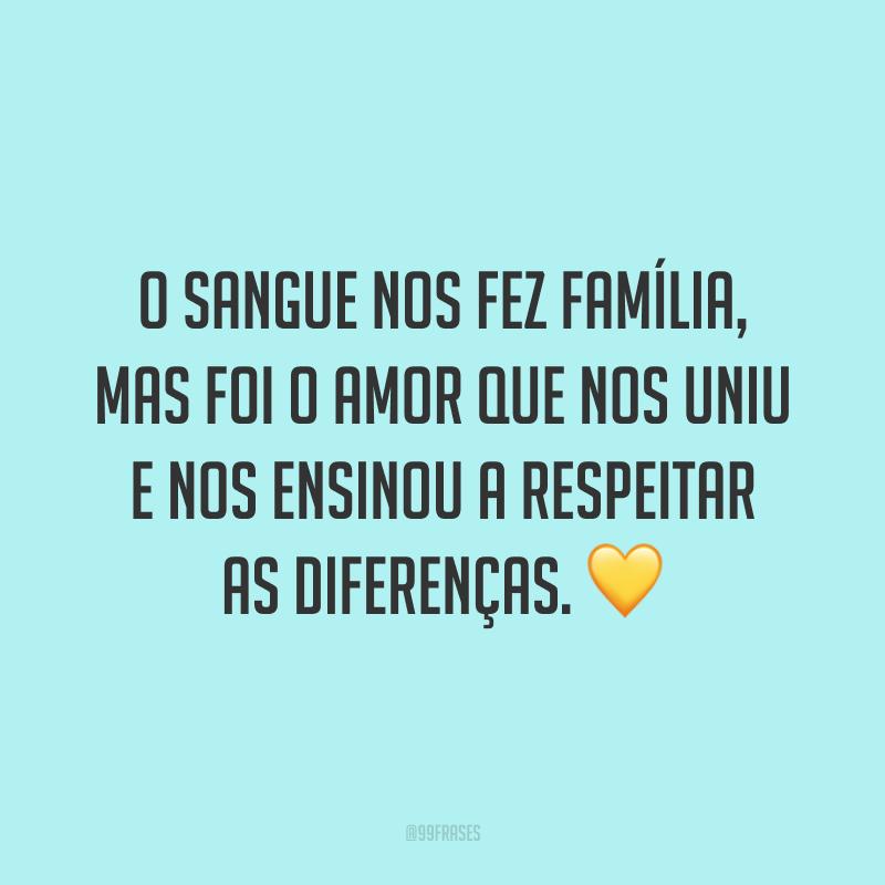 O sangue nos fez família, mas foi o amor que nos uniu e nos ensinou a respeitar as diferenças. 💛