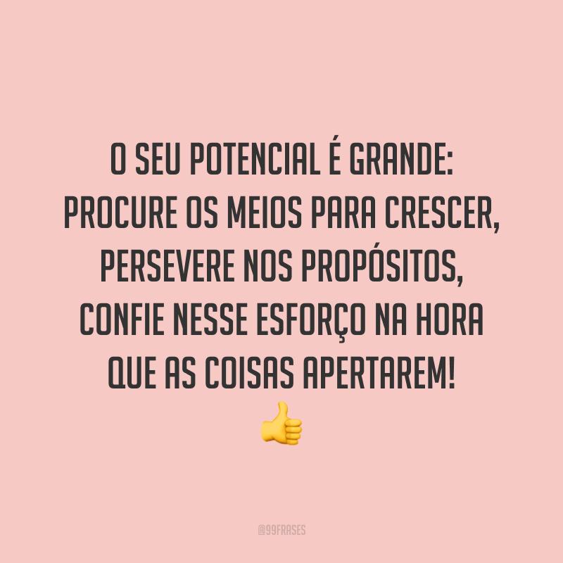 O seu potencial é grande: procure os meios para crescer, persevere nos propósitos, confie nesse esforço na hora que as coisas apertarem! 👍