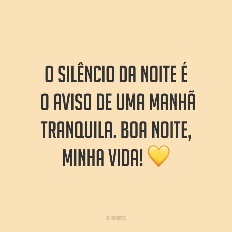 O silêncio da noite é o aviso de uma manhã tranquila. Boa noite, minha vida! ?