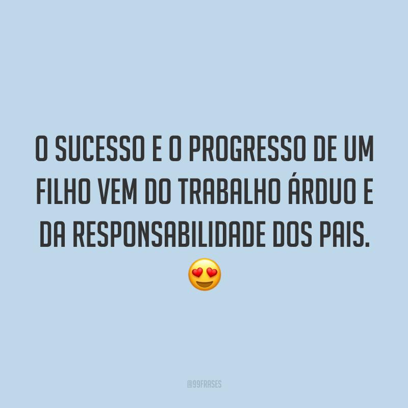 O sucesso e o progresso de um filho vem do trabalho árduo e da responsabilidade dos pais. 😍