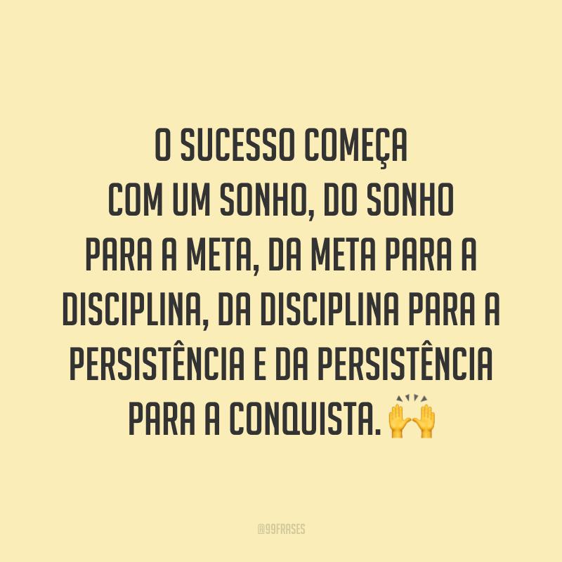 O sucesso começa com um sonho, do sonho para a meta, da meta para a disciplina, da disciplina para a persistência e da persistência para a conquista. 🙌
