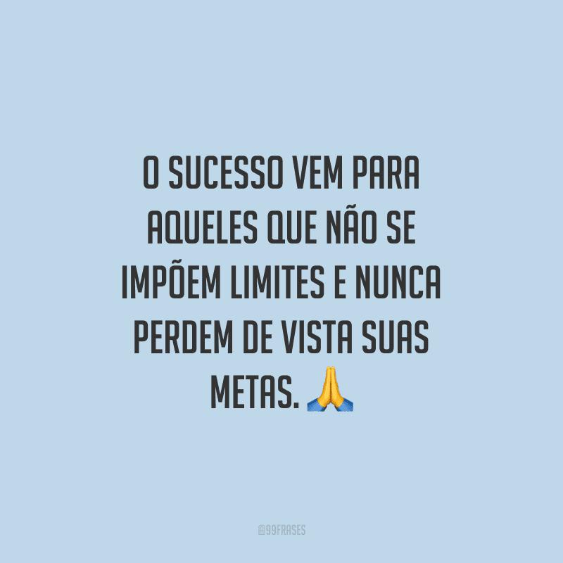 O sucesso vem para aqueles que não se impõem limites e nunca perdem de vista suas metas.