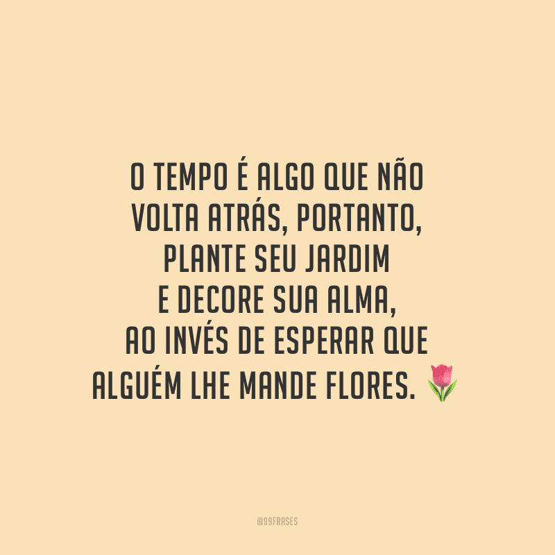 O tempo é algo que não volta atrás, portanto, plante seu jardim e decore sua alma, ao invés de esperar que alguém lhe mande flores.