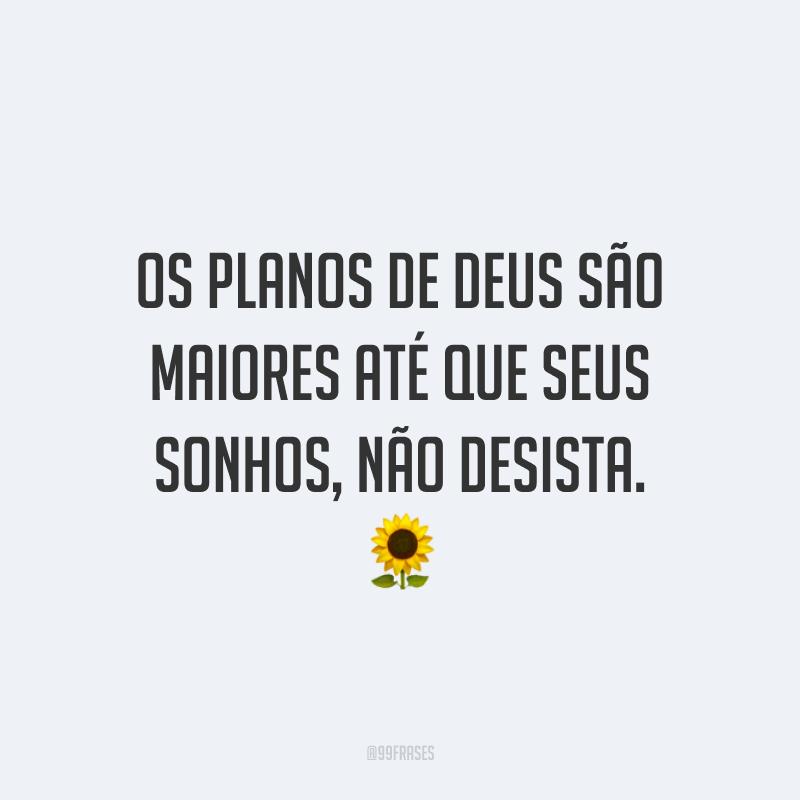 Os planos de Deus são maiores até que seus sonhos, não desista. 🌻