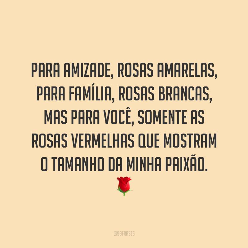 Para amizade, rosas amarelas, para família, rosas brancas, mas para você, somente as rosas vermelhas que mostram o tamanho da minha paixão. 🌹