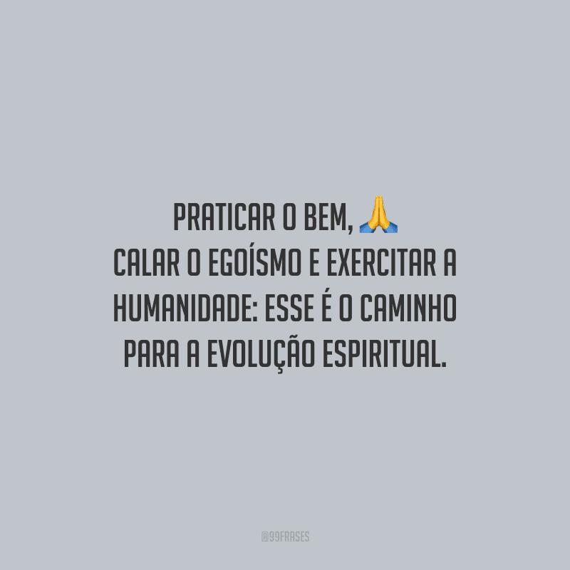 Praticar o bem, calar o egoísmo e exercitar a humanidade: esse é o caminho para a evolução espiritual.