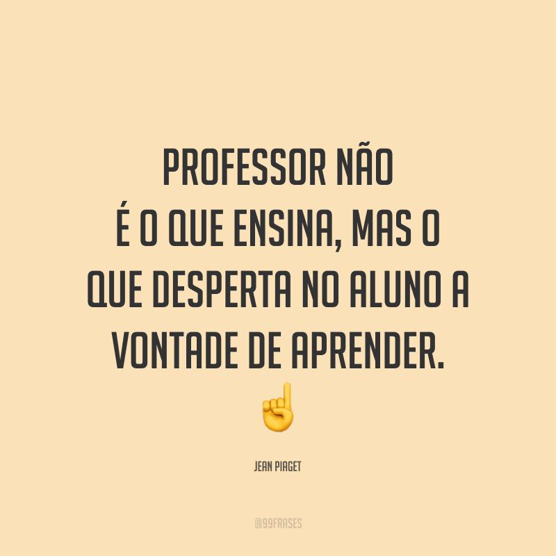 Professor não é o que ensina, mas o que desperta no aluno a vontade de aprender.